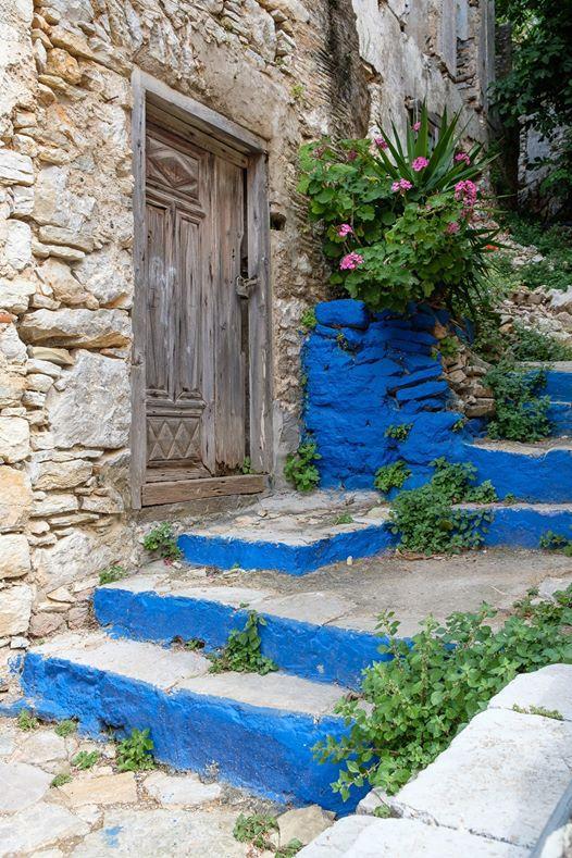 old-door-blue-steps